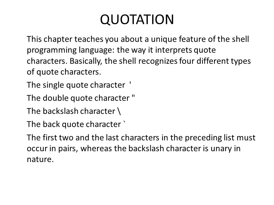 Quotation This Chapter Teaches You About A Unique Feature Of The