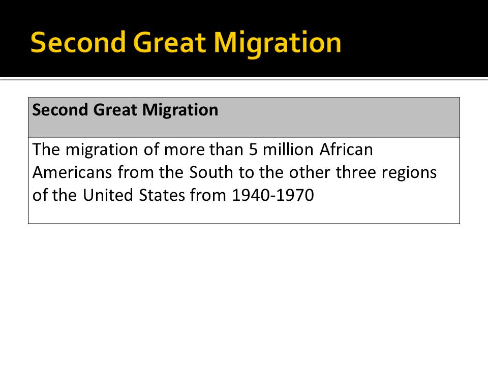 Second Great Migration The migration of more than 5 million African Americans from the South to the other three regions of the United States from