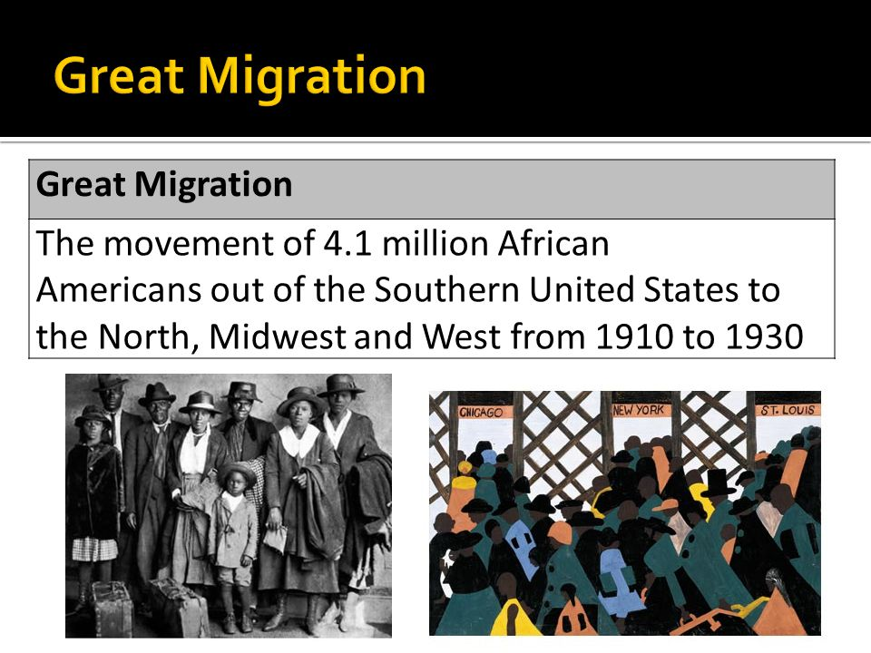 Great Migration The movement of 4.1 million African Americans out of the Southern United States to the North, Midwest and West from 1910 to 1930
