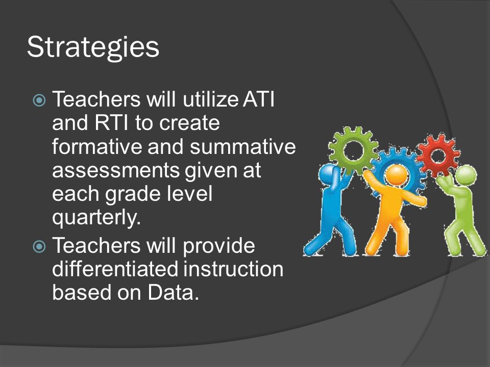 Strategies  Teachers will utilize ATI and RTI to create formative and summative assessments given at each grade level quarterly.