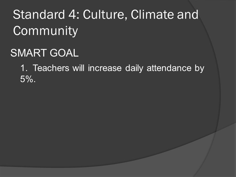 Standard 4: Culture, Climate and Community SMART GOAL 1.