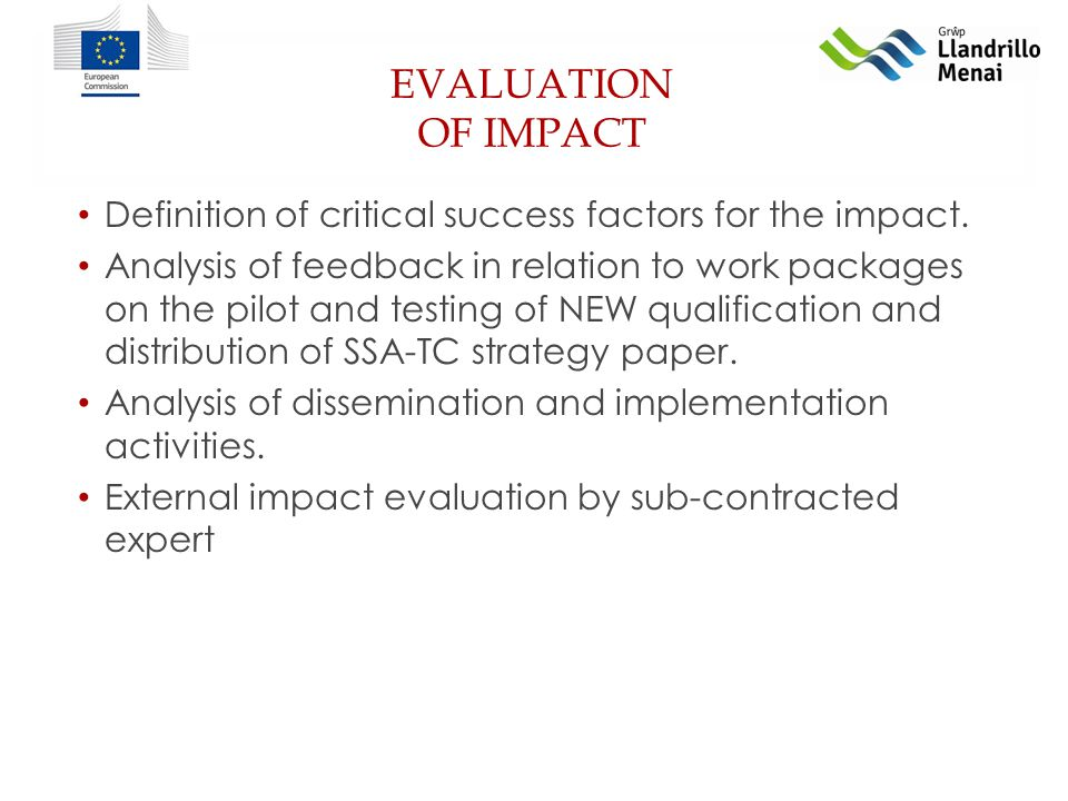 EVALUATION OF IMPACT Definition of critical success factors for the impact.