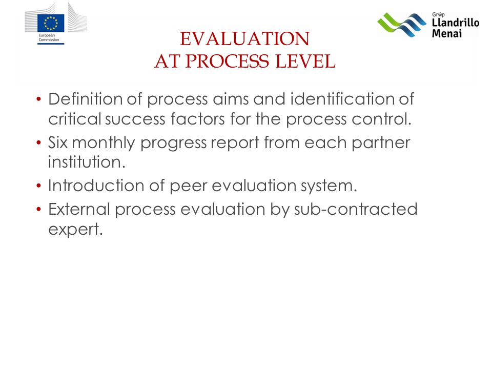 EVALUATION AT PROCESS LEVEL Definition of process aims and identification of critical success factors for the process control.