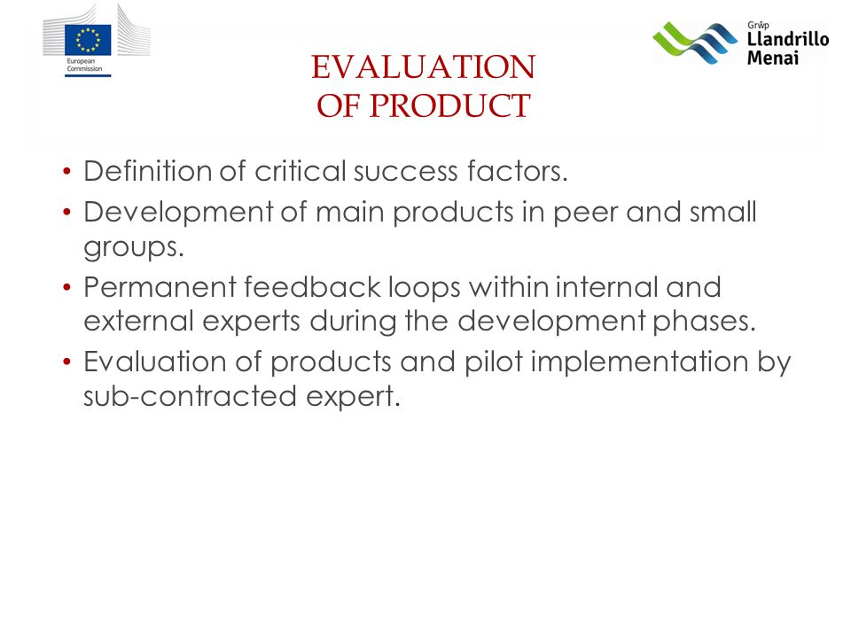 EVALUATION OF PRODUCT Definition of critical success factors.