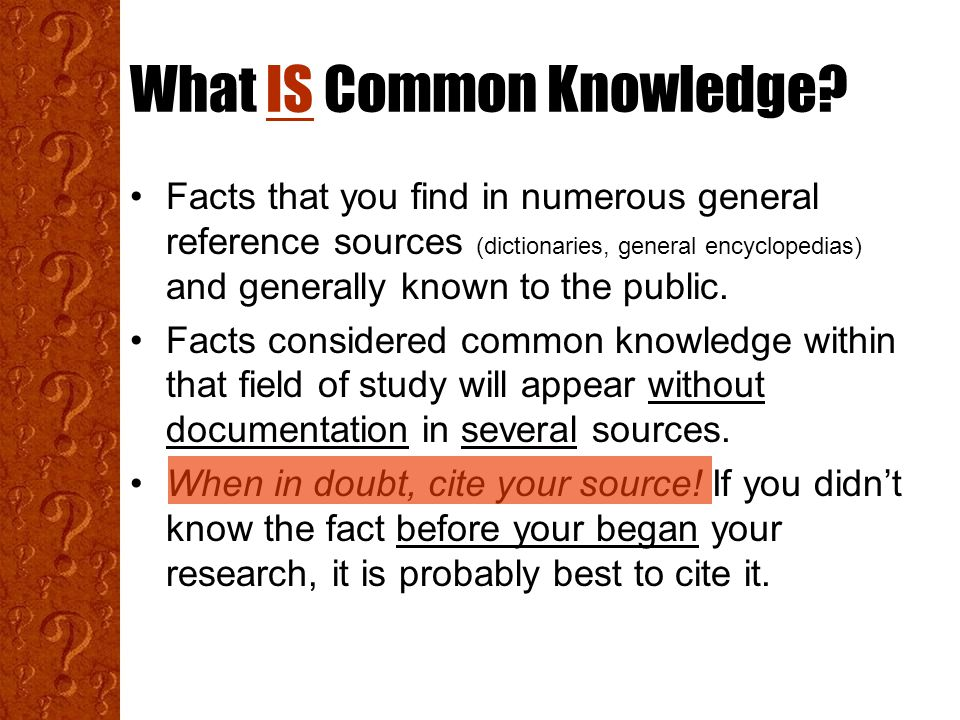 What IS Common Knowledge.