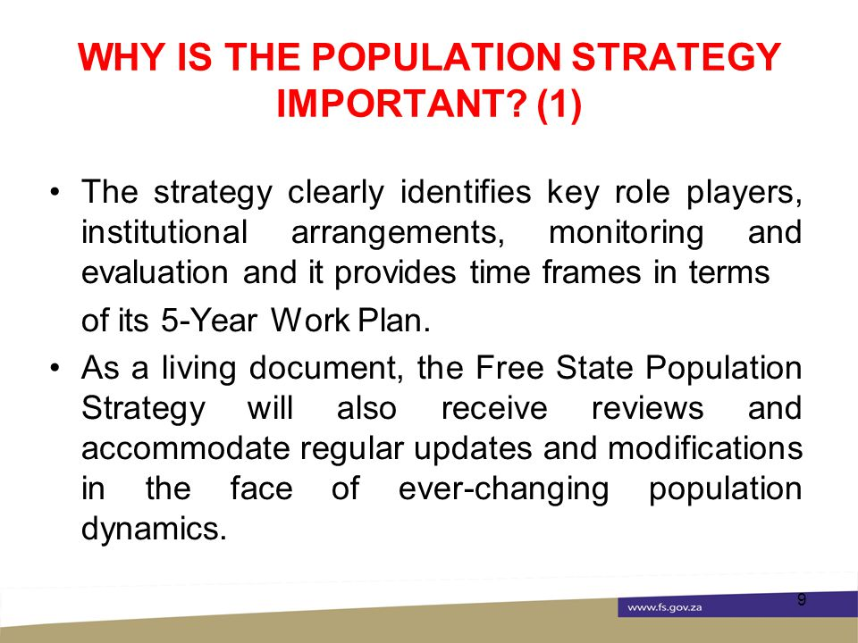 WHY IS THE POPULATION STRATEGY IMPORTANT.