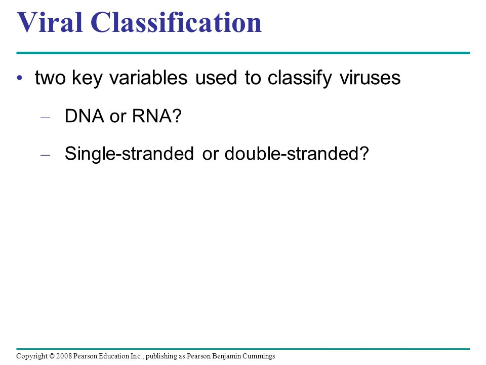 Copyright © 2008 Pearson Education Inc., publishing as Pearson Benjamin Cummings Viral Classification two key variables used to classify viruses – DNA or RNA.