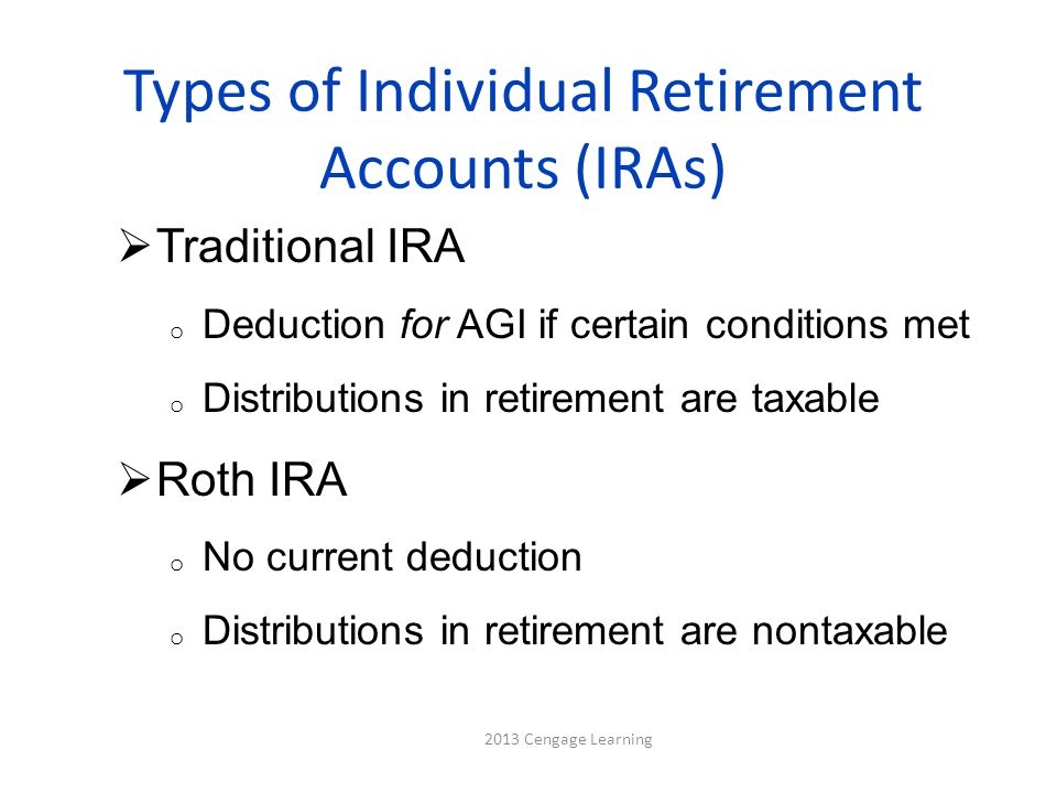 Types of Individual Retirement Accounts (IRAs)  Traditional IRA o Deduction for AGI if certain conditions met o Distributions in retirement are taxable  Roth IRA o No current deduction o Distributions in retirement are nontaxable 2013 Cengage Learning