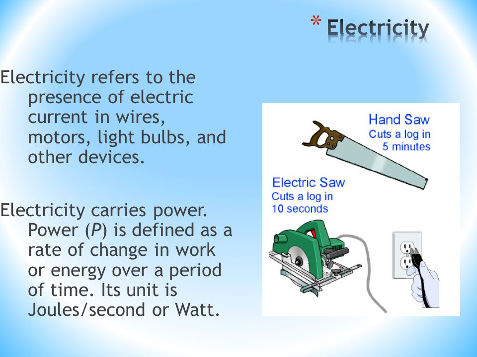Electricity refers to the presence of electric current in wires, motors, light bulbs, and other devices.