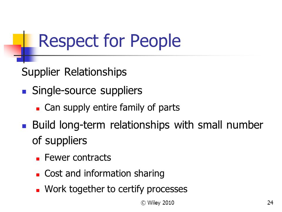© Wiley Respect for People Supplier Relationships Single-source suppliers Can supply entire family of parts Build long-term relationships with small number of suppliers Fewer contracts Cost and information sharing Work together to certify processes