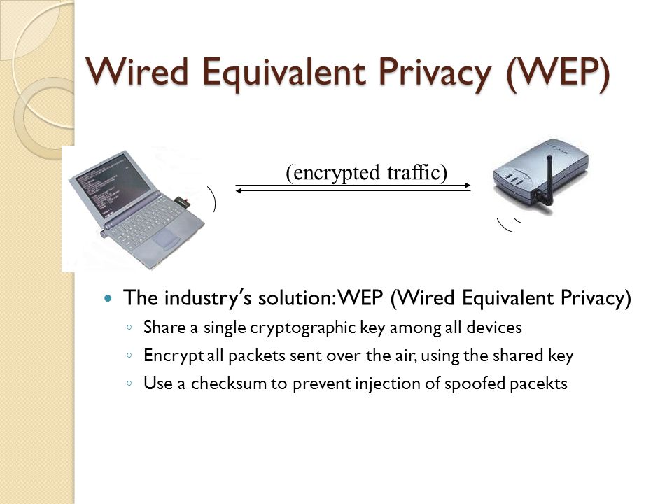 Wired Equivalent Privacy (WEP) The industry ' s solution: WEP (Wired Equivalent Privacy) ◦ Share a single cryptographic key among all devices ◦ Encrypt all packets sent over the air, using the shared key ◦ Use a checksum to prevent injection of spoofed pacekts (encrypted traffic)
