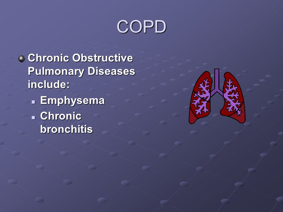 COPD Chronic Obstructive Pulmonary Diseases include: Emphysema Emphysema Chronic bronchitis Chronic bronchitis