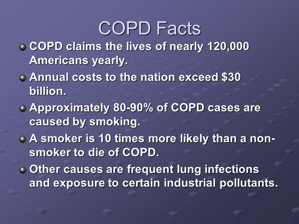 COPD Facts COPD claims the lives of nearly 120,000 Americans yearly.