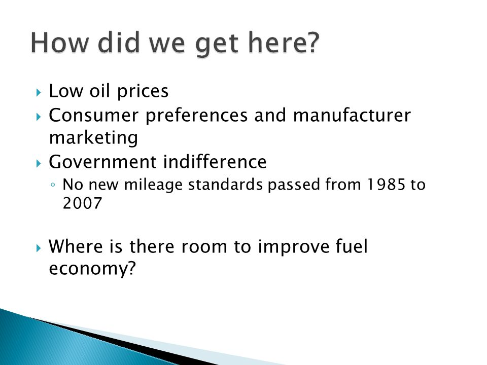  Low oil prices  Consumer preferences and manufacturer marketing  Government indifference ◦ No new mileage standards passed from 1985 to 2007  Where is there room to improve fuel economy