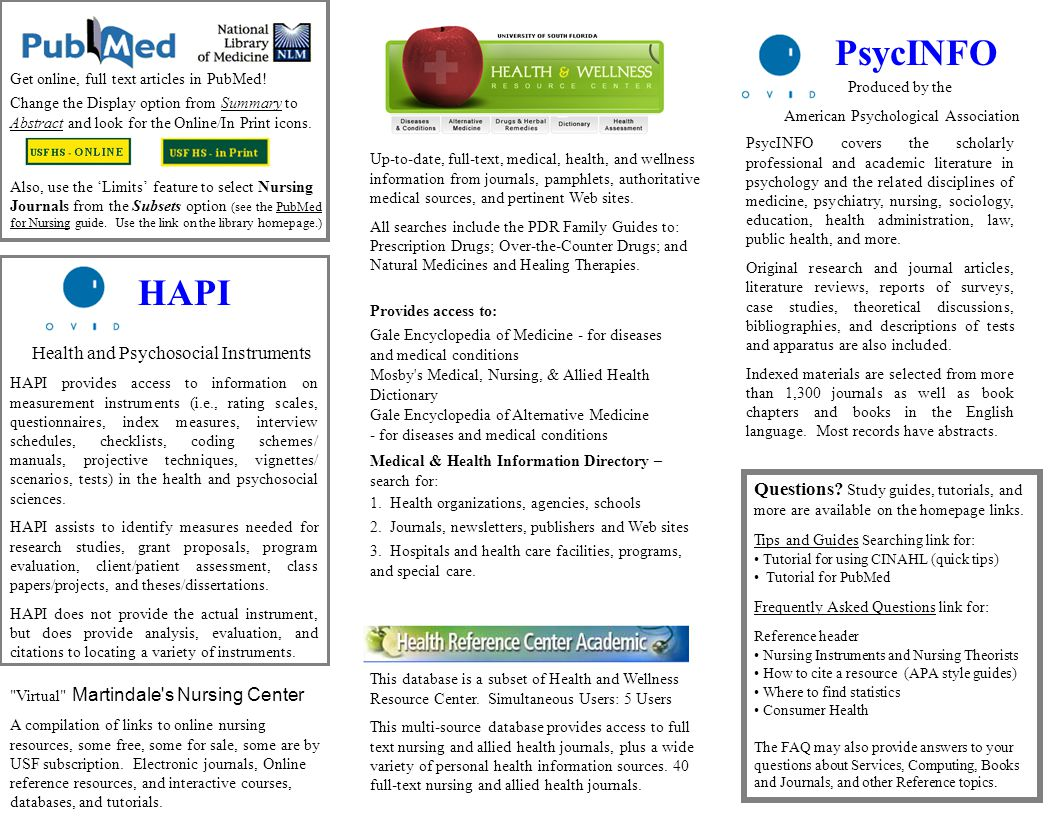 HAPI Health and Psychosocial Instruments HAPI provides access to information on measurement instruments (i.e., rating scales, questionnaires, index measures, interview schedules, checklists, coding schemes/ manuals, projective techniques, vignettes/ scenarios, tests) in the health and psychosocial sciences.