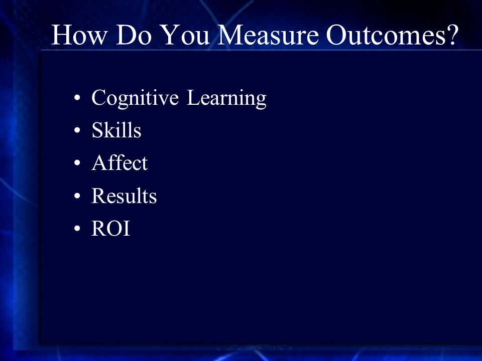 How Do You Measure Outcomes Cognitive Learning Skills Affect Results ROI