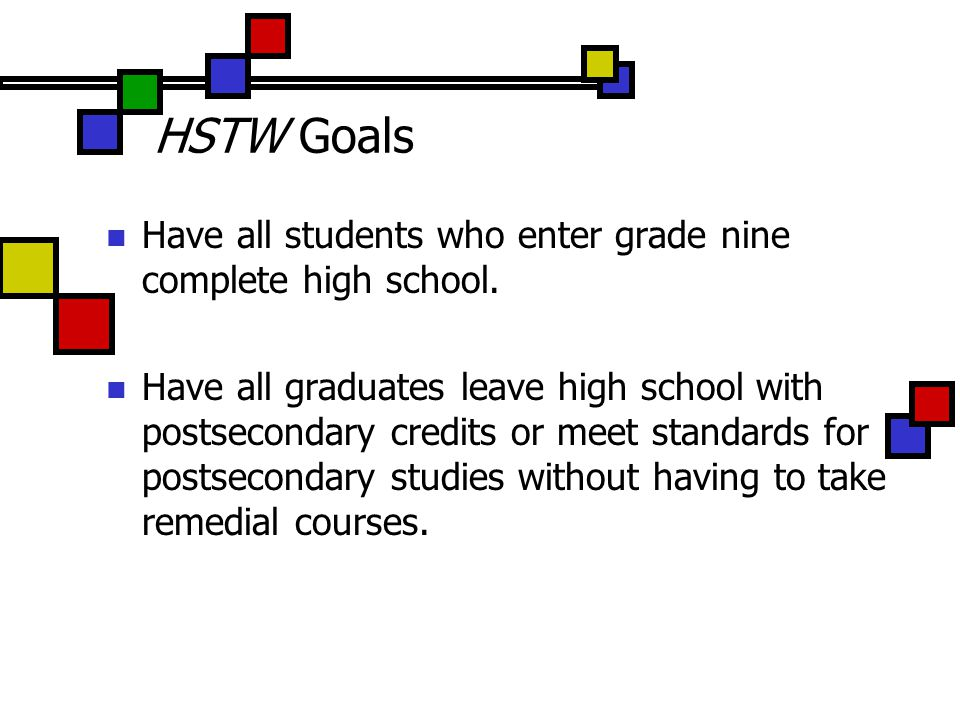 HSTW Goals Have all students who enter grade nine complete high school.