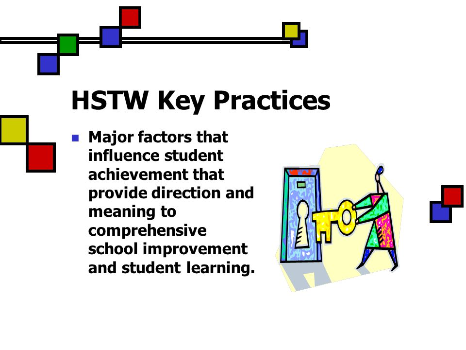 HSTW Key Practices Major factors that influence student achievement that provide direction and meaning to comprehensive school improvement and student learning.