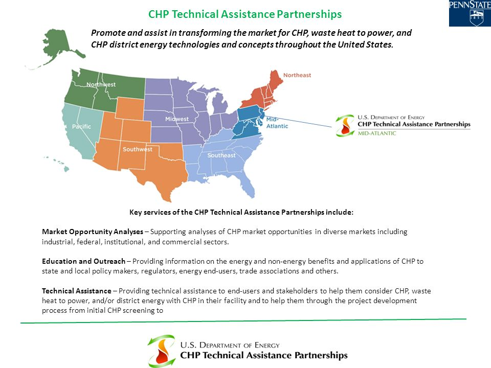 Key services of the CHP Technical Assistance Partnerships include: Market Opportunity Analyses – Supporting analyses of CHP market opportunities in diverse markets including industrial, federal, institutional, and commercial sectors.
