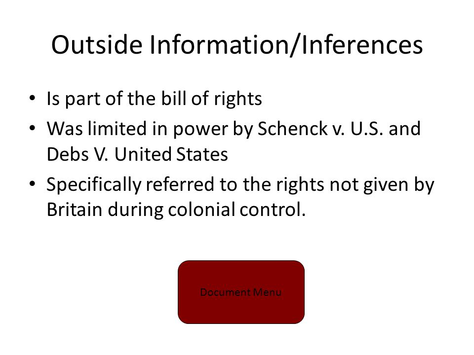 Outside Information/Inferences Is part of the bill of rights Was limited in power by Schenck v.