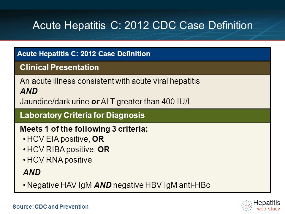 Hepatitis web study Source: CDC and Prevention Acute Hepatitis C: 2012 CDC Case Definition Acute Hepatitis C: 2012 Case Definition Clinical Presentation An acute illness consistent with acute viral hepatitis AND Jaundice/dark urine or ALT greater than 400 IU/L Laboratory Criteria for Diagnosis Meets 1 of the following 3 criteria: HCV EIA positive, OR HCV RIBA positive, OR HCV RNA positive AND Negative HAV IgM AND negative HBV IgM anti-HBc