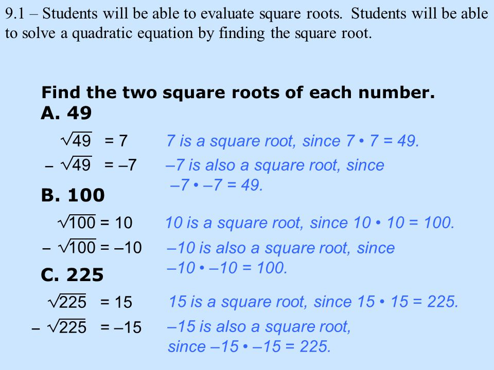 Find the two square roots of each number. 7 is a square root, since 7 7 = 49.