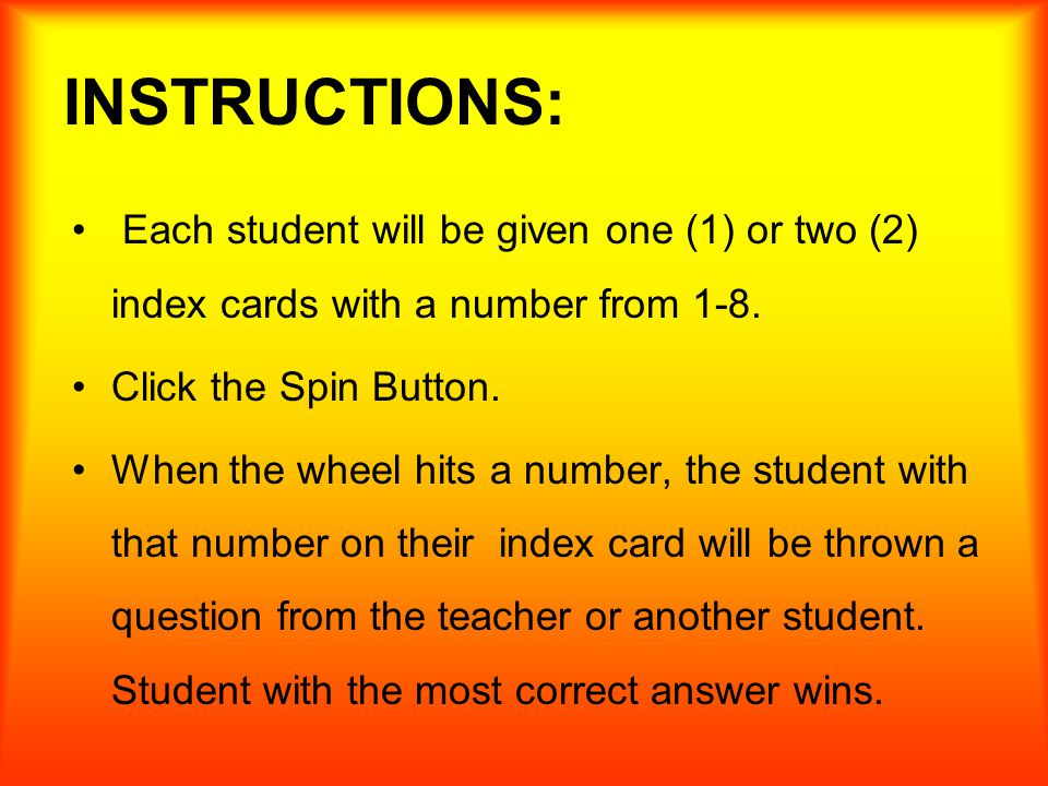 Whole Class Review Activity Instructions Each Student Will Be Given