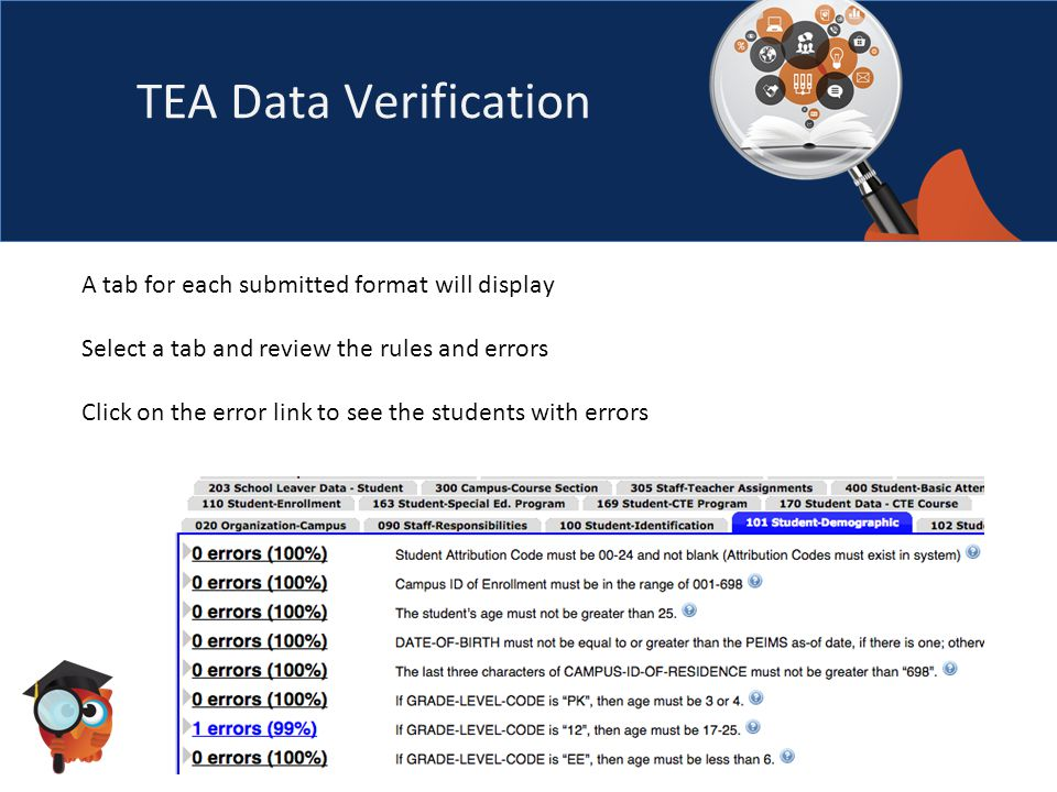 TEA Data Verification A tab for each submitted format will display Select a tab and review the rules and errors Click on the error link to see the students with errors