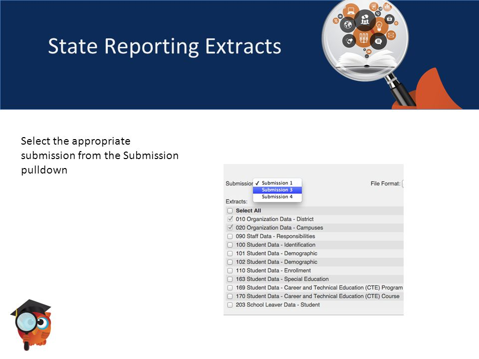 State Reporting Extracts Select the appropriate submission from the Submission pulldown