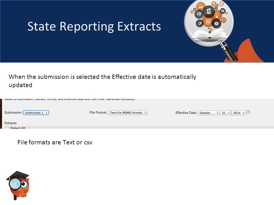 State Reporting Extracts When the submission is selected the Effective date is automatically updated File formats are Text or csv