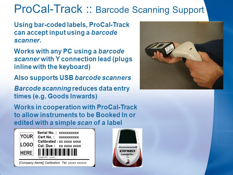 PROCAL-TRACK Label Printing & Barcode Scanning  ProCal-Track