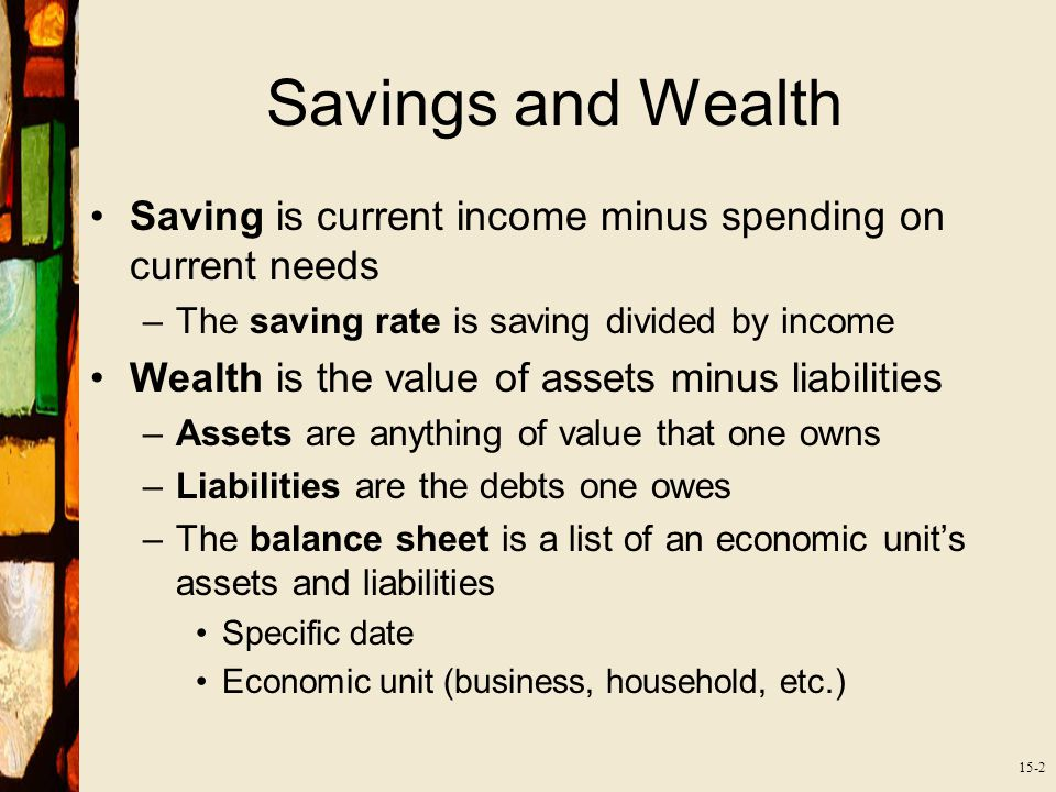 15-2 Savings and Wealth Saving is current income minus spending on current needs –The saving rate is saving divided by income Wealth is the value of assets minus liabilities –Assets are anything of value that one owns –Liabilities are the debts one owes –The balance sheet is a list of an economic unit's assets and liabilities Specific date Economic unit (business, household, etc.)