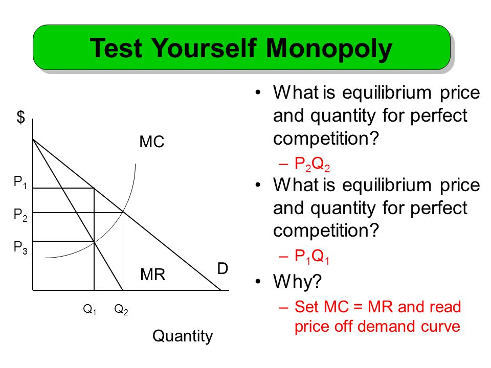What is equilibrium price and quantity for perfect competition.