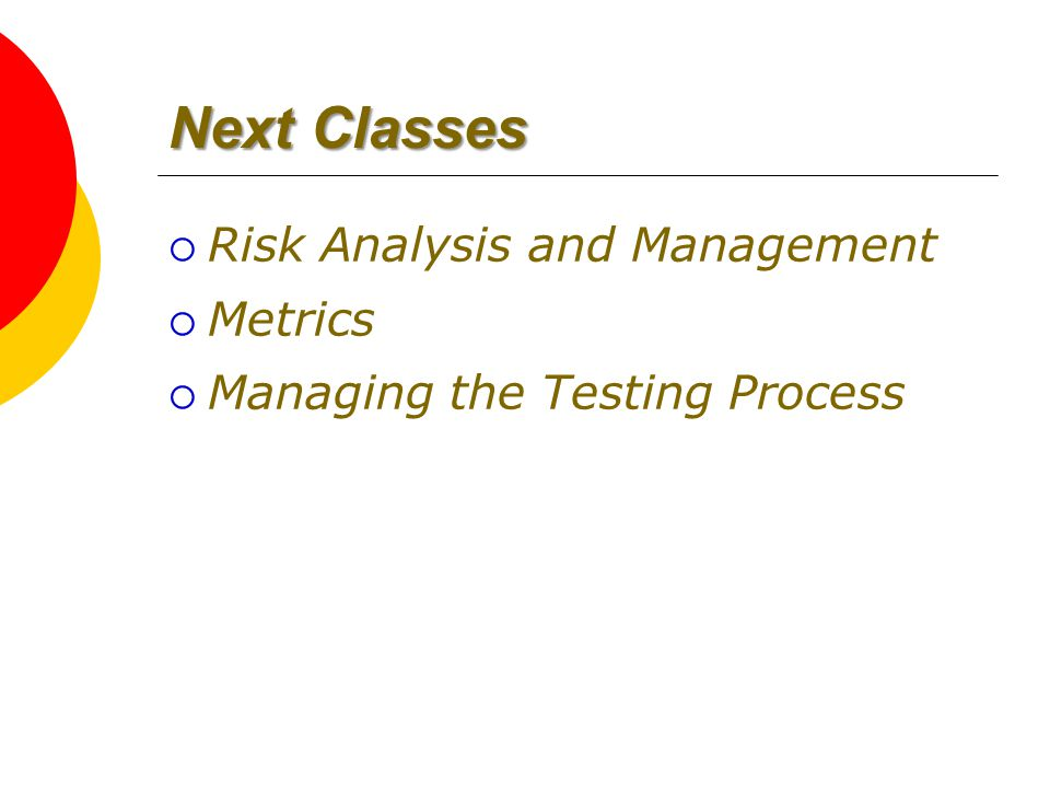 Next Classes  Risk Analysis and Management  Metrics  Managing the Testing Process