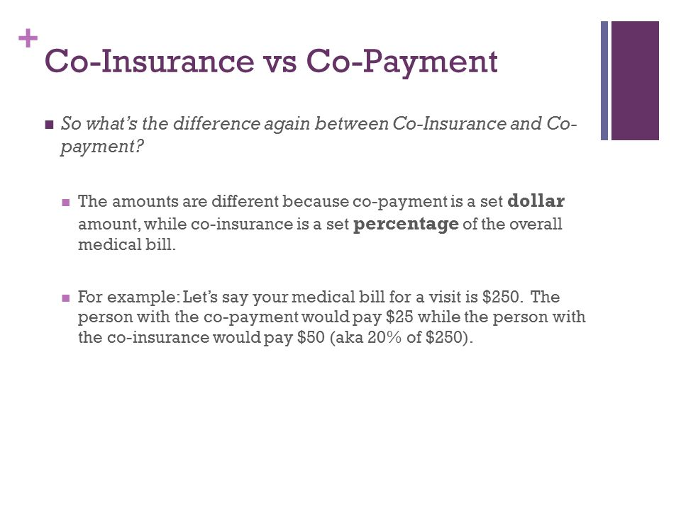 + Co-Insurance vs Co-Payment So what's the difference again between Co-Insurance and Co- payment.