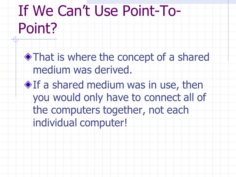 If We Can't Use Point-To- Point. That is where the concept of a shared medium was derived.