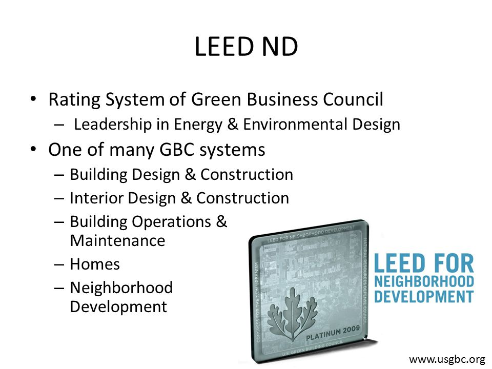 Leed Nd Rating System Of Green Business Council Leadership In