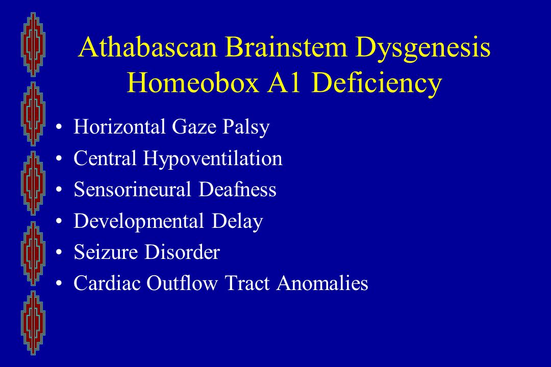 Athabascan Brainstem Dysgenesis Homeobox A1 Deficiency Horizontal Gaze Palsy Central Hypoventilation Sensorineural Deafness Developmental Delay Seizure Disorder Cardiac Outflow Tract Anomalies