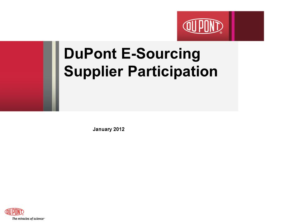 DuPont E-Sourcing Supplier Participation January 2012