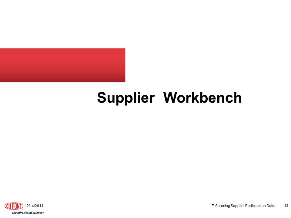 Supplier Workbench 12/14/2011 E-Sourcing Supplier Participation Guide 13