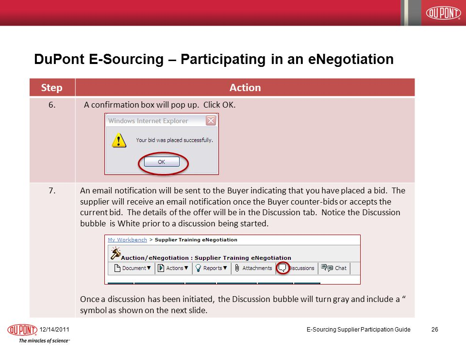 DuPont E-Sourcing – Participating in an eNegotiation 12/14/2011 E-Sourcing Supplier Participation Guide 26 StepAction 6.