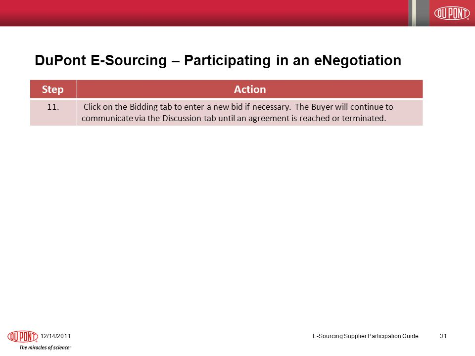 DuPont E-Sourcing – Participating in an eNegotiation 12/14/2011 E-Sourcing Supplier Participation Guide 31 StepAction 11.