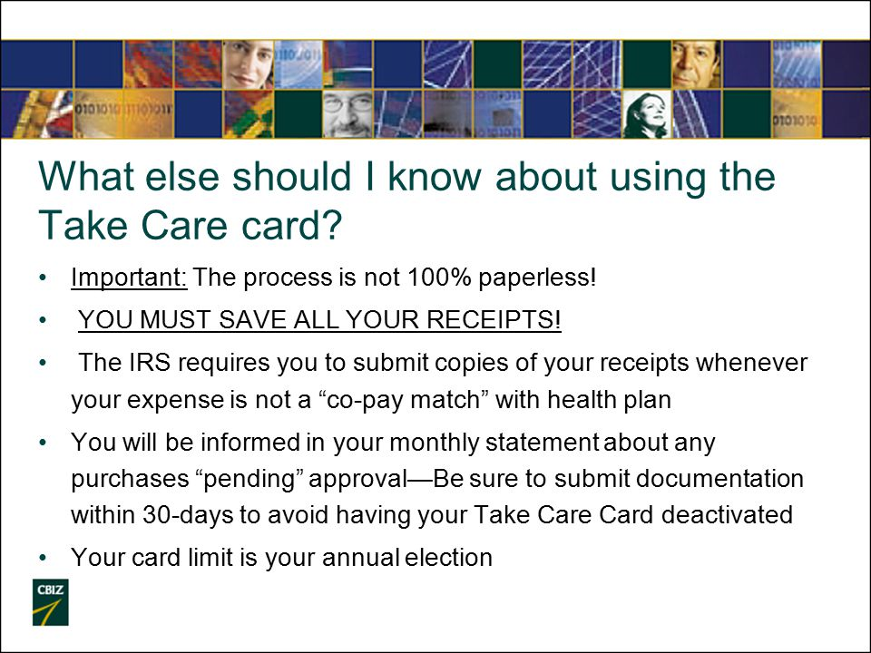 What else should I know about using the Take Care card.