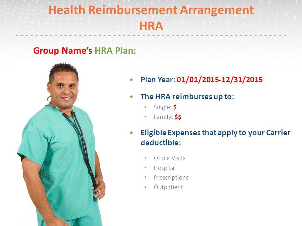 Health Reimbursement Arrangement HRA Plan Year: 01/01/ /31/2015 The HRA reimburses up to: Single: $ Family: $$ Eligible Expenses that apply to your Carrier deductible: Office Visits Hospital Prescriptions Outpatient Group Name's HRA Plan: