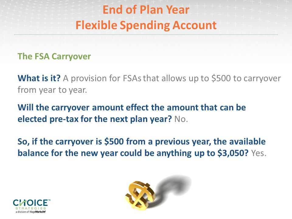 End of Plan Year Flexible Spending Account The FSA Carryover Will the carryover amount effect the amount that can be elected pre-tax for the next plan year.