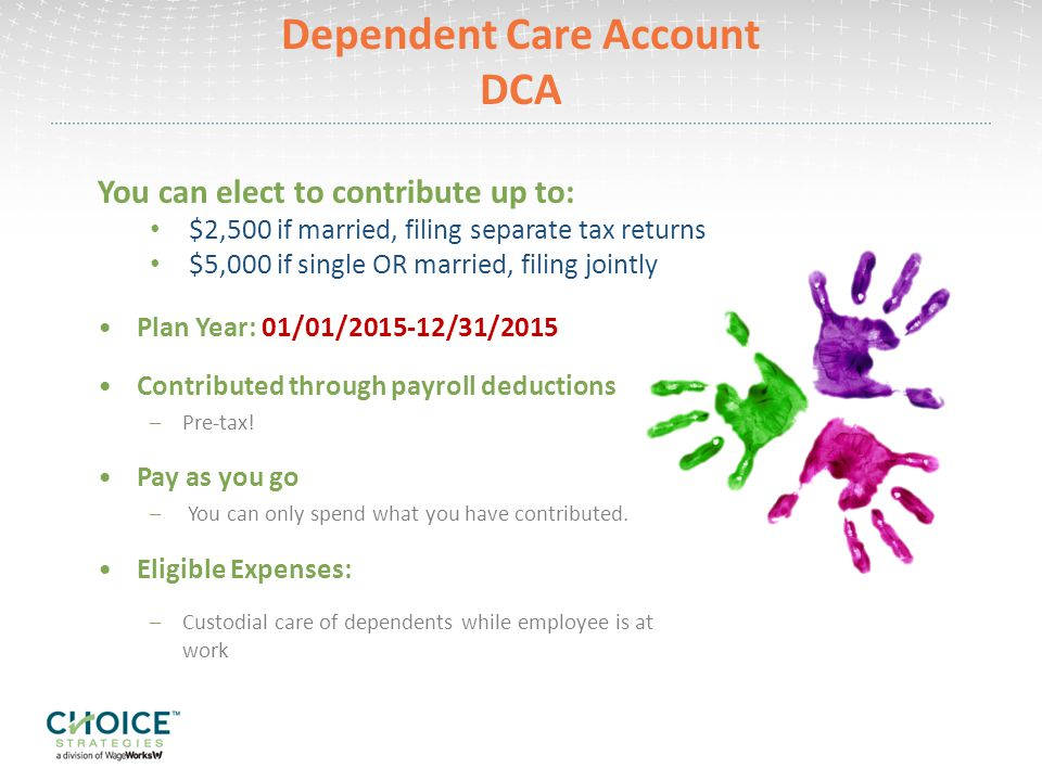 Dependent Care Account DCA Plan Year: 01/01/ /31/2015 Contributed through payroll deductions –Pre-tax.