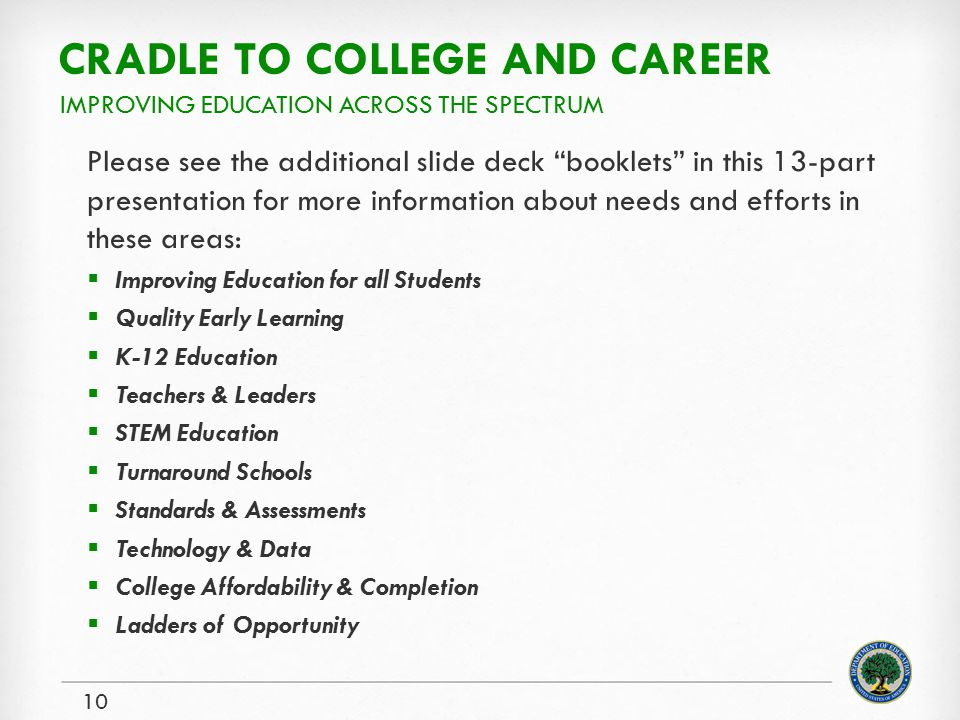 CRADLE TO COLLEGE AND CAREER Please see the additional slide deck booklets in this 13-part presentation for more information about needs and efforts in these areas:  Improving Education for all Students  Quality Early Learning  K-12 Education  Teachers & Leaders  STEM Education  Turnaround Schools  Standards & Assessments  Technology & Data  College Affordability & Completion  Ladders of Opportunity 10 IMPROVING EDUCATION ACROSS THE SPECTRUM
