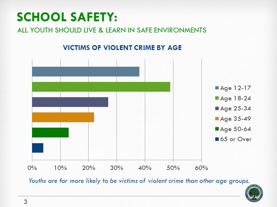 SCHOOL SAFETY: 3 ALL YOUTH SHOULD LIVE & LEARN IN SAFE ENVIRONMENTS VICTIMS OF VIOLENT CRIME BY AGE Youths are far more likely to be victims of violent crime than other age groups.