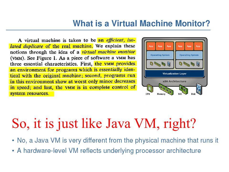 So, it is just like Java VM, right