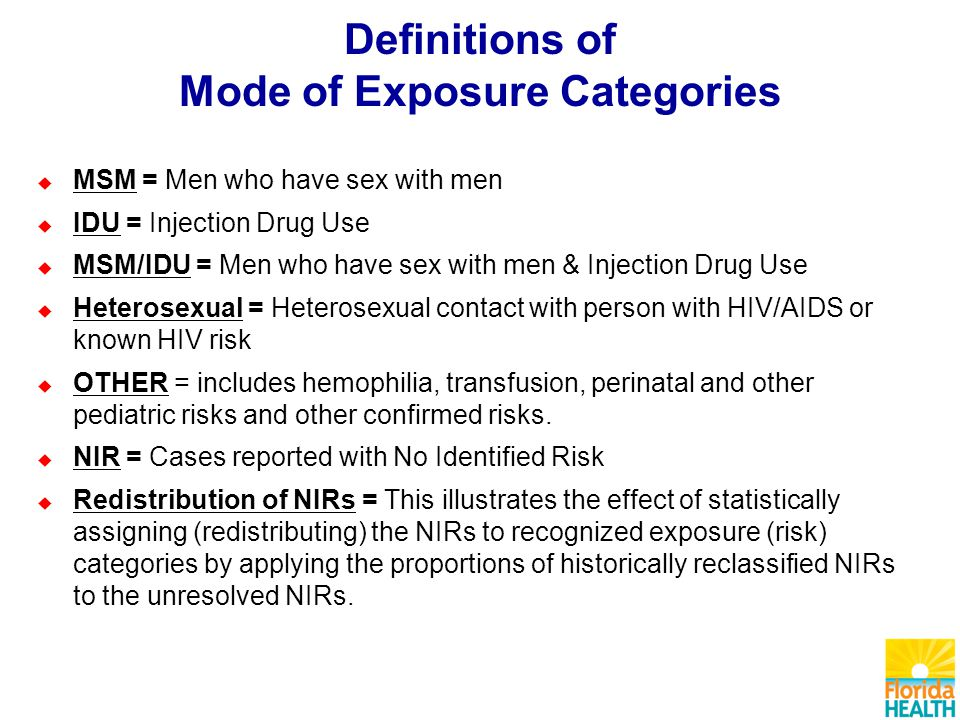 Definitions of Mode of Exposure Categories  MSM = Men who have sex with men  IDU = Injection Drug Use  MSM/IDU = Men who have sex with men & Injection Drug Use  Heterosexual = Heterosexual contact with person with HIV/AIDS or known HIV risk  OTHER = includes hemophilia, transfusion, perinatal and other pediatric risks and other confirmed risks.